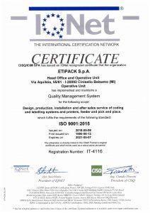 Сертификат ISO 9001:2015 Etipack