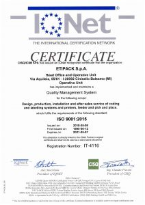 Сертифікат ISO 9001:2015 Etipack
