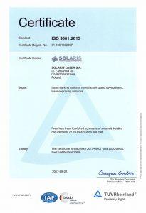 Сертификат ISO 9001:2015 компании Solaris Laser