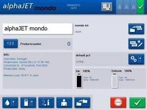 Вікно інтерфейсу маркувальника alphaJET mondo