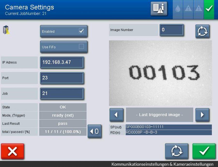 Настройка системы машинного зрения напрямую на экране маркиратора alphaJET mondo