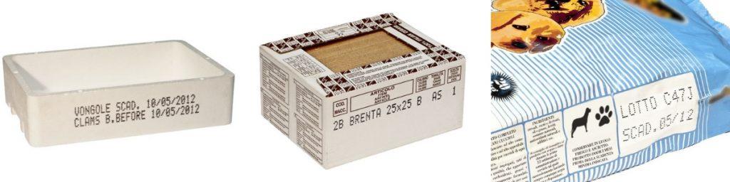 Крупносимвольная каплеструйная маркировка контейнеров для рыбы, упаковок керамической плитки, бумажных мешков