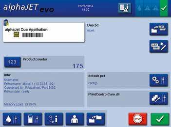 Інтерфейс маркувальника alphaJET mondo з результатами контролю якості маркування